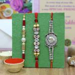 Set of 3 Rakhis - Mauli with Pearl and Fancy Rakhi