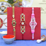 Set of 3 Rakhis - Golden Plated with American Diamond and Fancy Rakhis