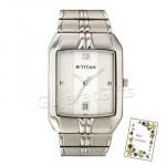 Titan White Dial Silver Watch