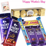 Wonderful Gift for Mom - 5 Assorted Bars , 2 Silk 69 gms each, Ferrero Rocher 4 Pcs and Card
