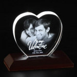 Heart Shaped 3D Crystal - 3 with LED Light Base & Card