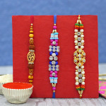 Set of 3 Rakhis - Fancy with Rudraksha and Mauli Rakhi