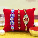 Set of 3 Rakhis - Mauli with Auspicious and Fancy Rakhis