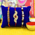 Set of 3 Rakhis - Pearl with Sandalwood and American Diamond Rakhi