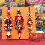 Set of 3 Rakhis - Bhaiya Bhabhi Rakhi with Diamond Rakhi