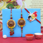 Set of 3 Rakhis - Bhaiya Bhabhi Rakhi Pair with Kids Rakhi
