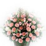 Basket Of Wishes - 50 Pink Gerberas & Gladioli Flowers Basket + Card