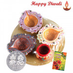 4 in 1 Diya - 4 in 1 Diya Thali with Laxmi-Ganesha Coin