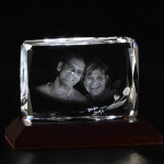 Rectangular 3D Crystal  with LED Light Base & Card