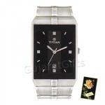 Titan Silver Watch Black Dial