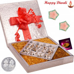 Enticing Gifts Box - Anjir Roll 500 gms & Assorted Namkeen 500 gms  in a decorative box with 2 Diyas and Laxmi-Ganesha Coin