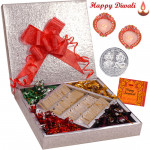 Stunning Gift Box - Kaju Katli 500 gms & Handmade Chocolates 500 gms  in a decorative box with 2 Diyas and Laxmi-Ganesha Coin
