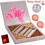 Magnetic Diwali Treat - Kaju Katli 500 gms & Mix Dry fruits 500 gms  in a decorative box with 2 Diyas and Laxmi-Ganesha Coin