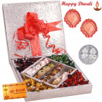 Amazing Treat for You - Kaju Mix 500 gms & Handmade Chocolates 500 gms  in a decorative box with 2 Diyas and Laxmi-Ganesha Coin