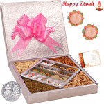 Incredible Treat - Kaju Mix 500 gms & Mix Dry fruits 500 gms  in a decorative box with 2 Diyas and Laxmi-Ganesha Coin