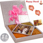 Awsome Gift Box - Kaju Mix 500 gms & Assorted Namkeen 500 gms in a decorative box with 2 Diyas and Laxmi-Ganesha Coin