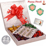 Extraordinary Combo - Pista Roll 500 gms & Handmade Chocolates 500 gms  in a decorative box with 2 Diyas and Laxmi-Ganesha Coin