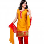 Mustard and Red Churidar Suit