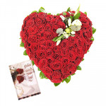 100 Red Roses Heart - Heart Shaped Arrangement 100 Red Roses + Card