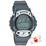 Sonata Digital Watch Grey Dial Black Strap