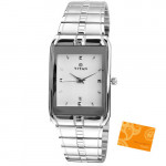 Titan Analog Silver Watch White Dial