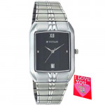 Titan Analog Silver Watch Black Dial