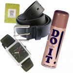Accessories for Dad - Belt, Sonata Watch Siver Dial, Lomani DO IT and Card
