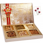 Adorning Dryfruit Box - Assorted Dry fruits 400 grams (6 items) in Decorative Box
