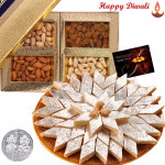 All Time Treat - Kaju Katli 250 gms, Assorted Dry fruits 200 gms with Laxmi-Ganesha Coin