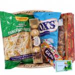 All in One Basket - Haldiram Namkeen, 1 Gems, Dryfruit Chikki Box, Fox Crystal Clear, Ferrero Rocher 5 pcs & Card