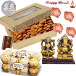 Almonds Hamper - Almonds 200 gms, Ferrero Rocher 16 pcs, Laxmi-ganesha Idol with 4 Diyas and Laxmi-Ganesha Coin