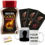 Amazing Combo - Nescafe Gold Decaffeinated Rich Aroma Coffee 50 gms, 3 Bournville 30 gms Each, Personalized Photo Mug and Card