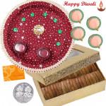 Anjeer Thali - Anjir 200 gms, Puja Thali (M) with 4 Diyas and Laxmi-Ganesha Coin