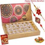 Sweet Combo - Kaju Anjir Rolls with 2 Rakhi and Roli-Chawal