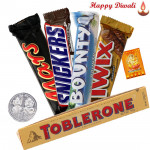 Assorted Chocolates - Snickers, Mars, Twix, Bounty, Toblerone with Laxmi-Ganesha Coin