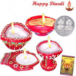 Assorted Diya - 4 Assorted Diyas with Laxmi-Ganesha Coin