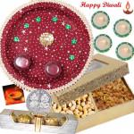 Assorted Thali - Puja Thali (M), Cashew Raisins 200 gms in Box, Ferrero Rocher 4 pcs with 4 Diyas and Laxmi-Ganesha Coin