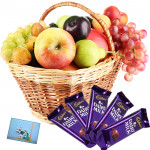 Awesome Fruit Basket - 2 Kg Mix Fruits in Basket, 5 Dairy Milk 20 gms Each and Card