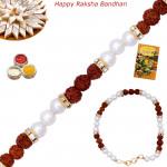 Alluring Pearl & Rudraksha Bracelet Rakhi