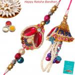 Elegant Stone & Pearls Bhaiya Bhabhi Rakhi Pair