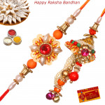 Floral Pearl Decorated Bhaiya Bhabhi Rakhi Pair