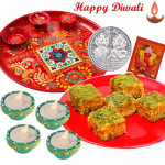 Badam Barfi Thali - Badam Barfi 250 gms, Meenakari Thali 6 inch with 4 Diyas and Laxmi-Ganesha Coin