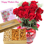 Basket of Love - 12 Red Roses in Vase, Assorted Dry Fruit Box 400 gms and Card