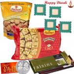 Beautiful Hamper - Haldiram Soan Papdi 250 gms, 2 Temptations, 1 Namkeen with 4 Diyas and Laxmi-Ganesha Coin