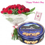 Best Mother - Bunch of 12 Red Roses, Danish Butter Cookies and Card