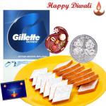 Bhaidooj Special - Gillete After Shave, Kaju Katli with Bhaidooj Tikka and Laxmi-Ganesha Coin