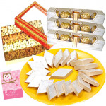 Big Time Gift - Kaju Katli 1 kg, Assorted Dryfruits 800 gms, 3 Ferrrero Rocher 5 pcs