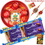 Cadbury Assortment Thali - 10 Assorted Bars, Meenakari Thali 6 inch with 2 Rakhi and Roli-Chawal