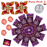 Cadbury Diwali Hamper - 10 Dairy Milk (M), Auspicious Swastika with 4 Diyas and Laxmi-Ganesha Coin