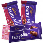 Cadbury Treat - 2 Dairy Milk Chocolates (L) + 2 Cadbury Fruit & Nuts & Card